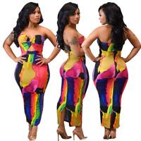 Women's Summer Beach Dress Bandeau Floral Clubwear Sleeveless Bodycon Midi Skirt