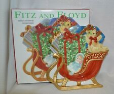Fitz & Floyd Teddy's Christmas Canape Plate 2003 Nib Hand Crafted Party Collect