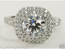 1.80 CT BRILLIANT CUT HALO SOLITAIRE ENGAGEMENT RING SOLID 14K WHITE GOLD