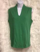 Rafaella Women's Green V-Neck Sleeveless Cotton Top Size L - EUC