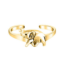Elephant Toe Ring Adjustable Midi Ring Solid 14k Yellow Gold Over Lucky