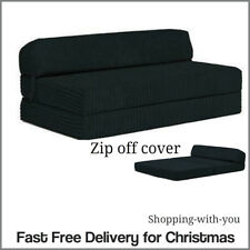 Black Kong Jumbo Cord Double Chair Sofa Z Bed Seat Foam Fold out Futon Guest