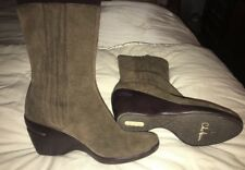 Cole Haan Nike Air Ankle Boots Brown Suede Women's 6.5 M B Pull On Wedge Heel