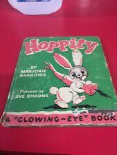 Hoppity Bunny Rabbit Children's Book Glowing Eyes Die Cut Vintage 1947