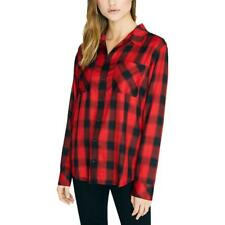 Sanctuary Womens New Generation Plaid Boyfriend Red Plaid Blouse Top M BHFO 1681