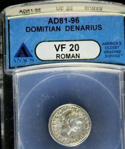 Domitian 81-96 AD. Silver Denarius. Roman Imperial. ANACS VF-20