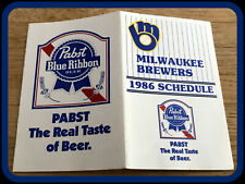 1986 MILWAUKEE BREWERS PABST BEER BASEBALL POCKET SCHEDULE FREE SHIPPING