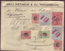 BRAZIL to SWITZERLAND SURCHARGES on NEWSPAPER STAMPS & MORE - RARE 1899 COVER #4