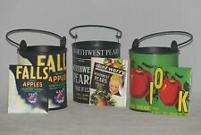 "Vintage Wired Handled Cans w/ Matching Tea Envelope  3.5""  Set of 3"
