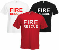 Fire Rescue Fancy Dress T Shirt Tee Retro S-XXL Free UK Post Fireman Firewoman