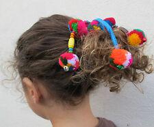 Felt Pompom bells Hairband,Scrunchie, Girls Bobble,Headband Hippie kids Elastic