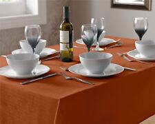 Luxury Plain Linen LOOK Tableclothes Round Square Oblong Many Colours 135cm  X 180cm Oblong Orange