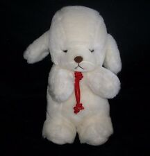 "12"" Vintage 1982 Gund Baby Smooch White Puppy Dog Rattle Stuffed Animal Plush"