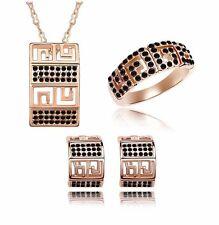 18K Gold GP SWAROVSKI Element Crystal Antic Earring Necklace Ring Set Black
