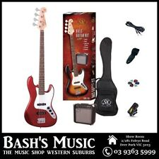 SX JB Bass Guitar Starter Package with Amp + Tuner + Bag Red