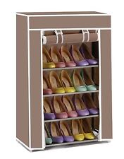 Vinsani 5 Tier Canvas Shoe Rack For Party Gym Work Shoes & Footwear - Brown