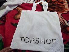 LOT OF 5 NEW TOP SHOP LOGO WHITE NYLON MESH TOTE BAG BEACH TOTE BAG CARRY 18X18