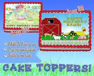 FARM ANIMALS TRACTOR Edible Cake Topper image SHEET picture sugar baby shower