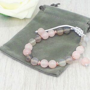 Handmade Adjustable Rose Quartz & Grey Agate Gemstone Bracelet & Velvet Pouch.