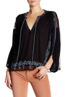 New Free people Split V-Neck Front Tie Blouse Sheer Black embroidered Sz M