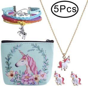 Valentines Day Birthday Gift 🎁 Unicorn Necklace Earrings set girls kids Teens