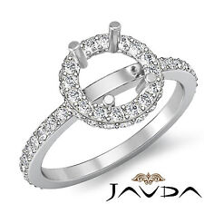 Diamond Engagement Ring 18k White Gold Round Semi Mount Halo Pave Setting 0.85Ct