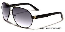 Premium Men's Fashion Aviator Sunglasses Retro Khan Designer Glasses Black Blue