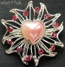 NEW SILVER FLOWER HEART PINK CRYSTAL FAUX PEARL BROOCH WEDDING PARTY GIFT BROACH