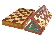 "Wooden Chess Set Magnetic Folding 18"" + King Size 3.5"" Golden Rosewood + Pouch"