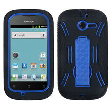 For Huawei Ascend Y H866C  Impact Hard Rubber Case Cover Kick Stand Black Blue
