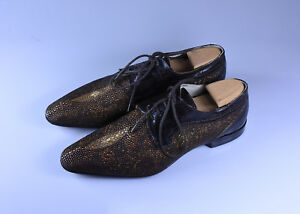 C Ventura Mens Formal Italian Shagreen Stingray Leather Shoes, Size 40 USA 8
