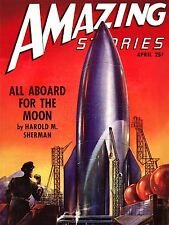 Stampa POSTER COMICS storie sorprendenti razzo nave Moon Space Sci Fi USA nofl0581