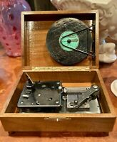 Vintage Thorens Automatic Disc Music Box Player Wooden Walnut AD 30 w/ 26  Discs