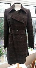 F&F DARK BROWN SNAKE SKIN PATTERNED LONG TRENCH COAT SIZE 12 GREAT CONDITION