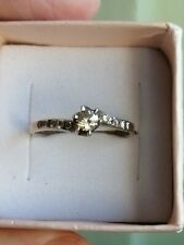 Silver Ring Sz 8.5 *Vintage* Engagement Solitaire Faceted Zirconia Sterling