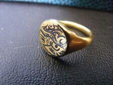Rare & BEAUTIFUL Islamic solid GOLD ring Seljuk niello 500 years OLD Persian