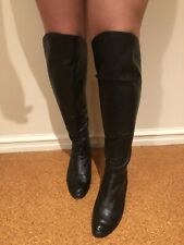 Tony Bianco Over Knee Black Leather Boots Size Suits 9 ( 8 On Sole)