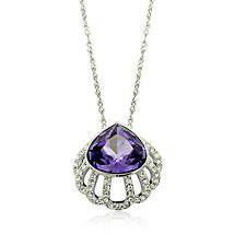 18k White Gold Plate Amethyst Purple Made with Swarovski Crystals  Necklace N279
