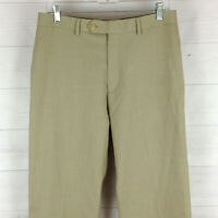 Ralph Lauren mens size 32 x 32 beige flat front straight dress pants flaw