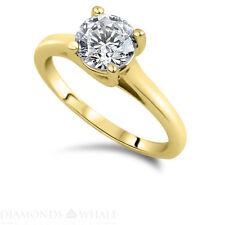 Round Cut Diamond Ring 14K Yellow Gold SI2/D 0.9 CT Engagement Bridal Enhanced