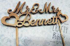 PERSONALISED WOODEN GOLD CAKE TOPPER.WEDDING MR&MRS- MR/MR- MRS/MRS SURNAME