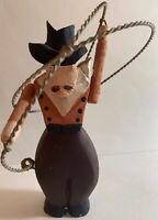 Folk Art Cowboy Hand Carved & Painted Roping Western Figure Vintage (w)