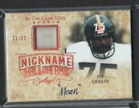 2018 LEAF IN THE GAME USED NICKNAME HALL OF FAME JOE GREENE JERSEY # 11/12