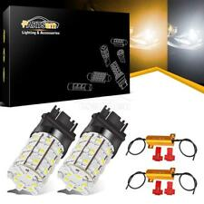 2x 3157 3357 4157 Switchback 60 LED Turn Signal Light White Amber +Load Resistor