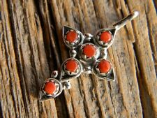 "Sterling silver cross pendant 6 red coral 1 1/8"" long, free18"" cobra chain"