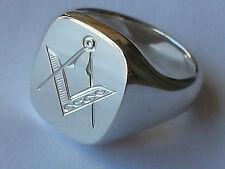 24 gram  freemasons cushion sterling silver signet ring, solid, London Hallmarks