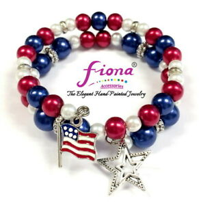 RWB Patriotic Bracelet July 4th Red White Blue Stars Flag Coil Bangle US Seller