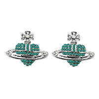 Silver Tone Emerald Green Rhinestones Orb Stud Earrings Saturn Heart Cross E1402