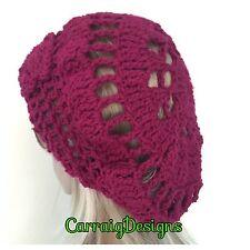 HANDMADE Women beret hat mandala crochet beanie magenta Xmas gift hippie cap