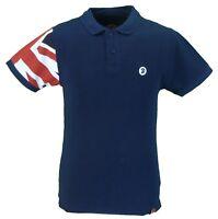 Trojan Records Navy Flag Sleeve 100% Cotton Pique Polo Shirt
